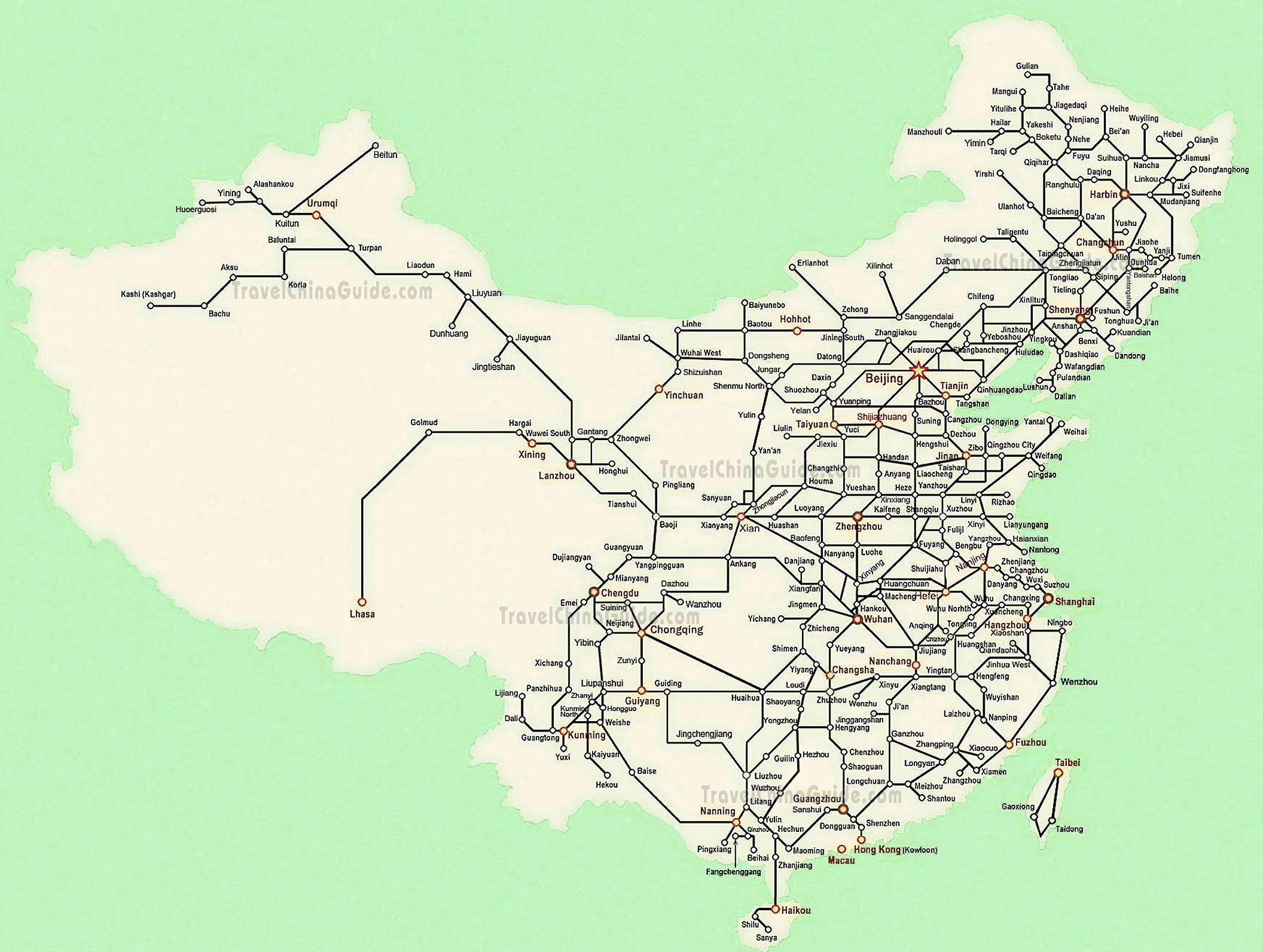 Китай схема жд дорог