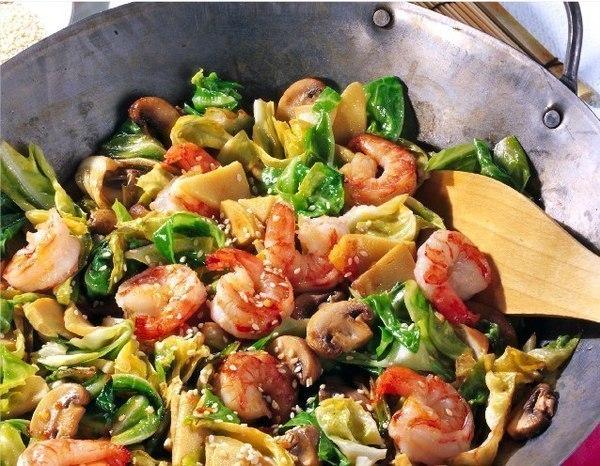 рецепты Креветки с овощами по-испански