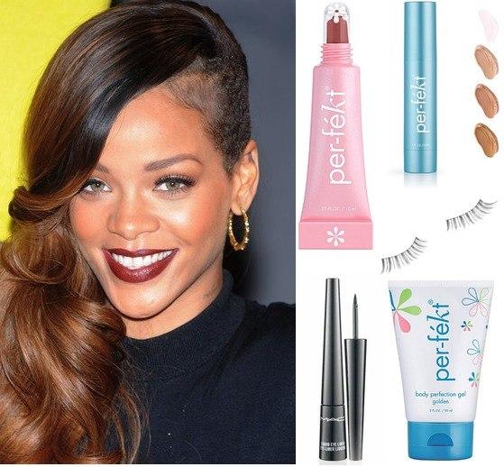 Rihanna носит накладные ресницы Benefit Angel Lashes. Рианна Макияж.