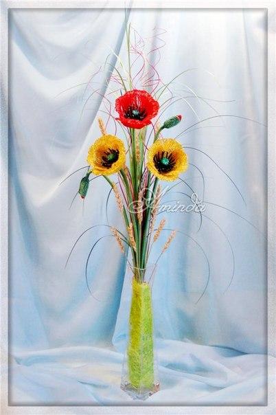 Для цветка сплела 4 лепестка.