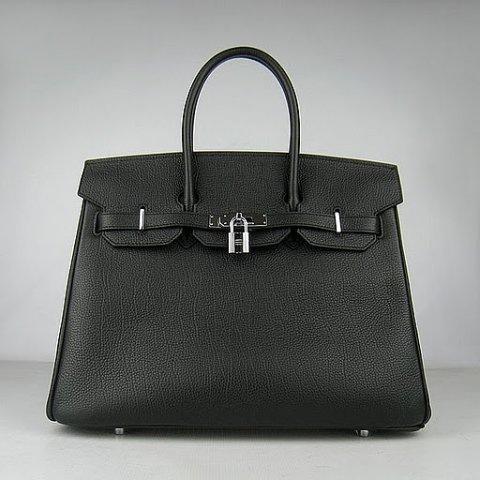 Реплика Hermes Birkin сумки 035E черный (серебро)