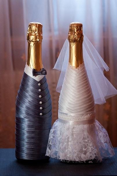 Свадебные шампанское своими руками фото