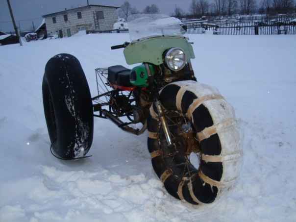Как сделать снегоход на камерах из мотоцикла