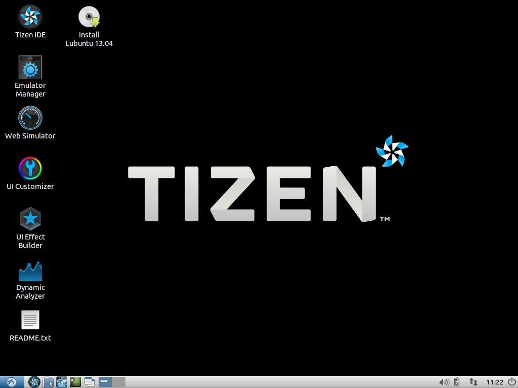Рабочий стол в Tizen SDK live DVD