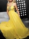 Длинное вечернее платье жёлтого фото.
