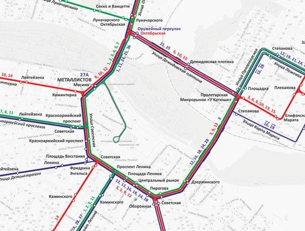 Актуальная схема маршрутов