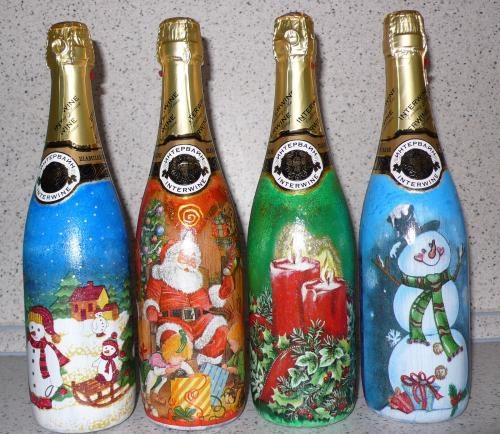 новый год, украшение бутылок, декупаж.