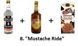«Mustache Ride» (равные части Everclear, Butterscotch Schnapps и шоколадного молока)