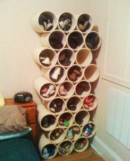 Полка для обуви из пластиковой трубы