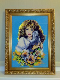 """Ярмарка Мастеров - ручная работа Картина вышита бисером  """" Девушка с котом """".  Handmade."""