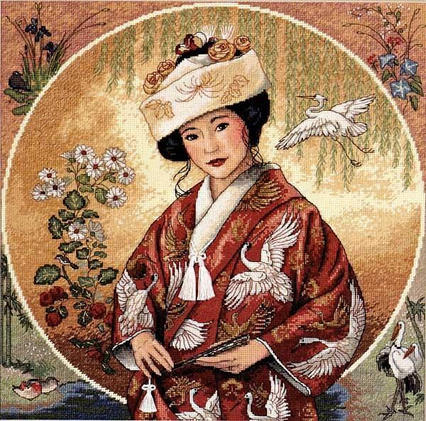 """Схема вышивки крестом  """"Японская девушка """" (Dimensions). счетный крест размер: 30х30 см канва: Аида 18."""