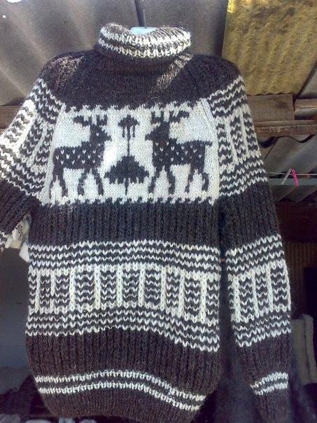 Шерстяной свитер с оленями, ручная работа.  Размеры: 42-62 Теплые...
