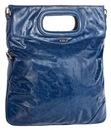 Женская сумка Palio выполнена из глянцевой кожи синего цвета.