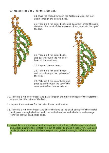 схема плетения листьев гиацинта из бисера.