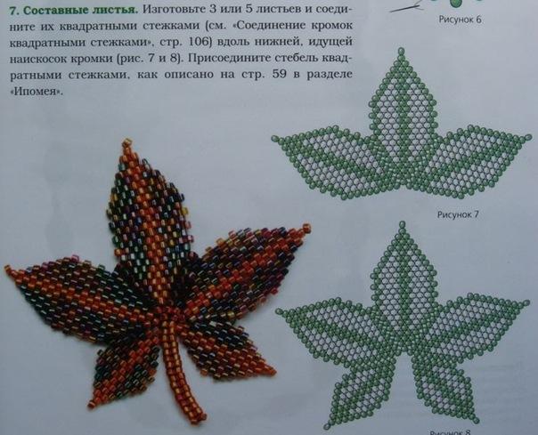 Схемы бисерных листочков.