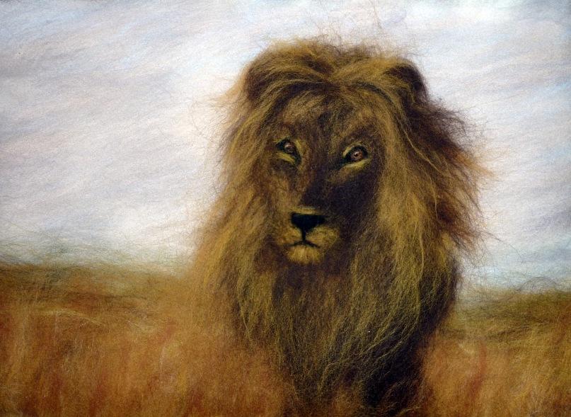"""Рисуем шерстью картину  """"Царь зверей """".  Мастер-классы по сухому валянию."""