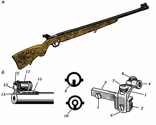 Малокалиберная винтовка ТОЗ-12: а - общий вид; б - диоптрический прицел; 1 - угольник; 2 - колодка; 3...
