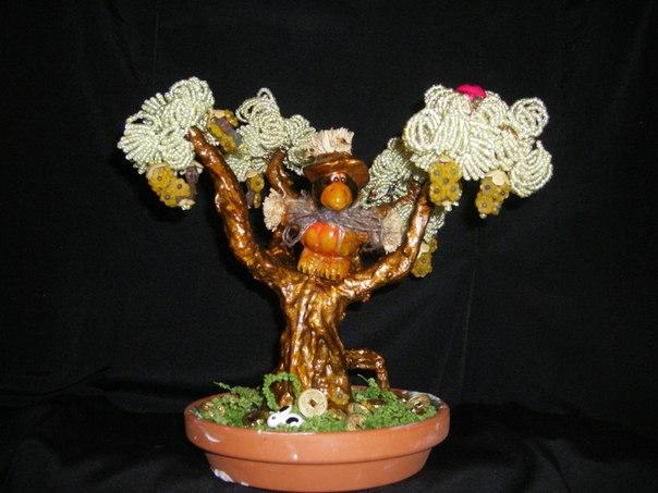 Цветы деревья из бисера