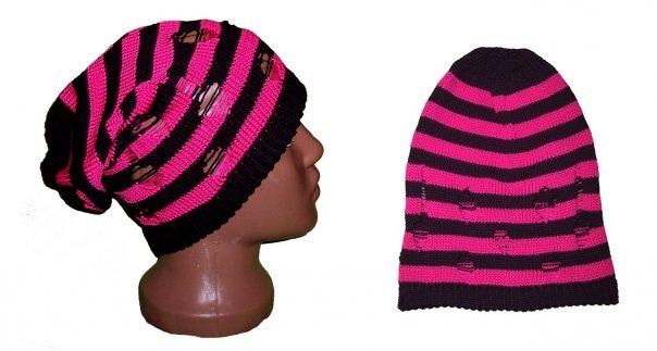 """В Мой Мир. шапка-чулок  """"Кислотный дождь """" черно-розовая.  ШАПКИ."""