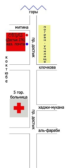 "Схема проезда Студия  ""Образ "" Алматы."