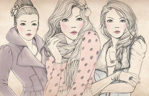 одежда, рисунок, мода, девушка, зима - картинка 36597 на Favim.ru.
