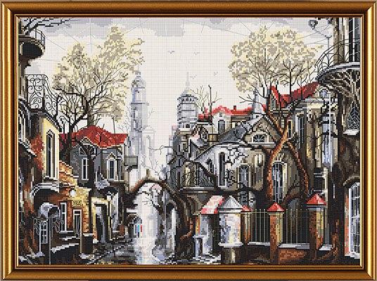 городской пейзаж, дома сложной архитектуры с большим количеством оттенков