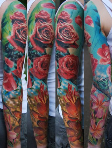 real colorful roses sleeve tattoo design Flowers have inspired us for so