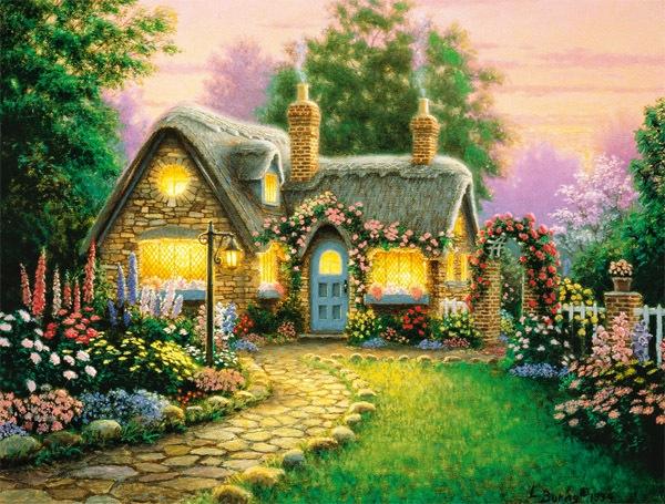 Оригинал схема вышивки домик в саду