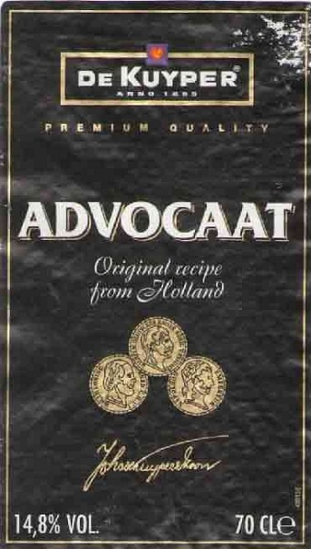 этикетка от ликера «Advocaat»