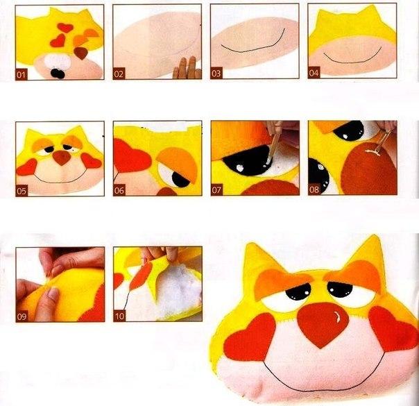 Выкройка подушки Кот, как сшить игрушку-подушку, мягкая игрушка кот...