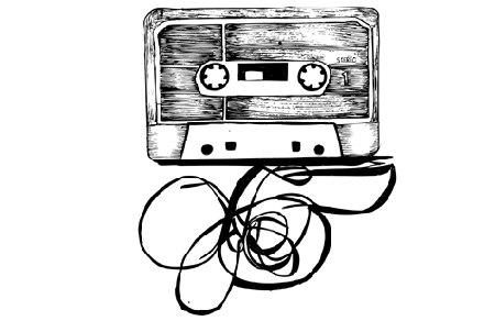 Рисованной Аудио кассета бесплатные векторные.