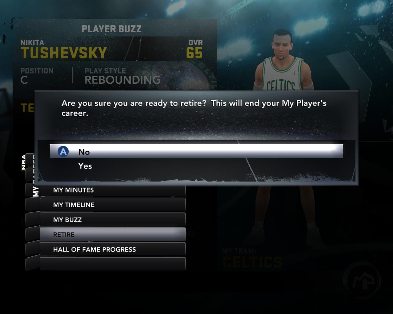 Завершение карьеры в НБА2К12