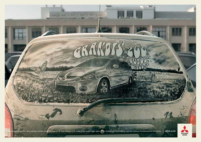 Живопись на грязных машинах реклама