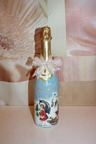 Автор: Алиса Лучинская.  Сайт любителей декупажа.  Мастер-класс по декупажу бутылки шампанского.