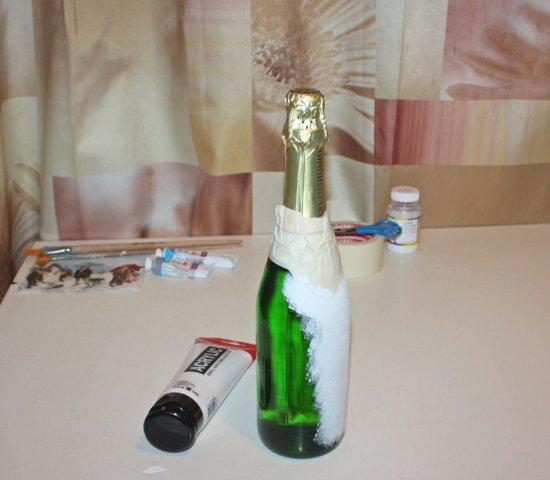 Декупаж бутылки из под шампанского.