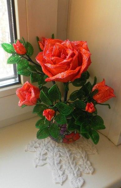 бисер листья. плетение-бисером розы букет.