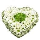 Нежное, вдохновляющее, сердце из хризантемы, окутанное облаком маленьких белых цветочков гипсофилы.