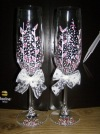 Весільні бокали, наклейки на шампанське, розпис шампанського,весільні наклейки-номери на машини...