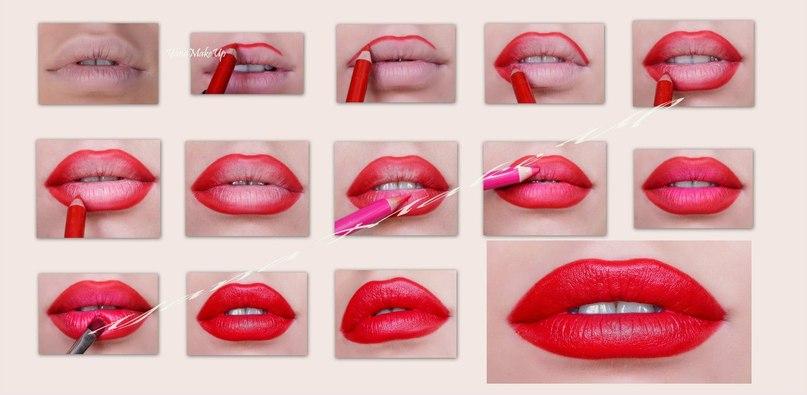 Как красить губы пошаговое