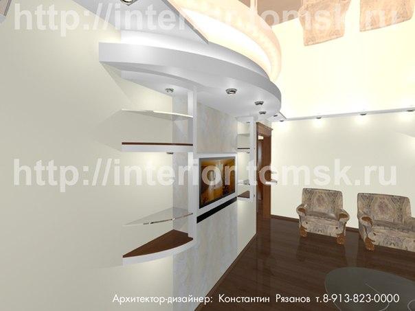 Вариант дизайна стенки под телевизор