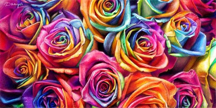 Живое граффити цветные розы