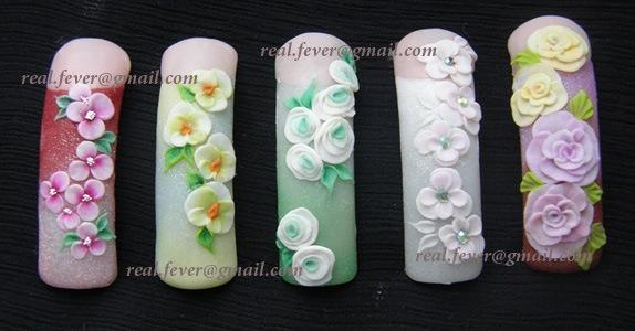 Розы лепка на ногтях