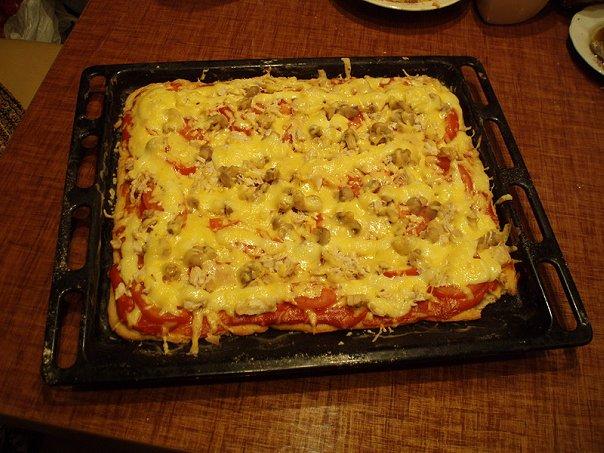 пицца в духовке на протвине на кефире рецепт с фото
