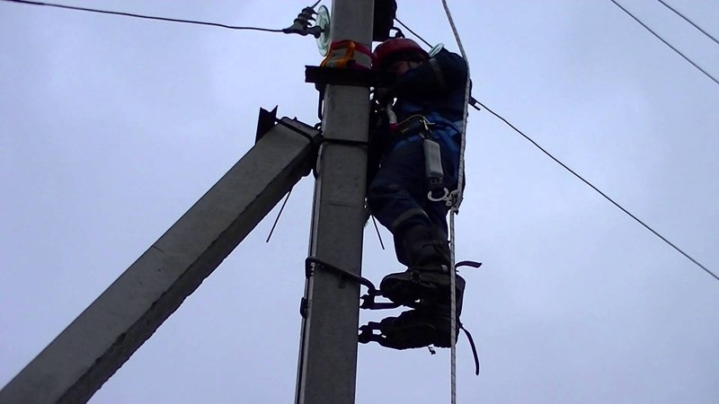 Подъём на жб опору ВЛ 6 10 кВ с однолучевым стропом с аммортизатором ПроВиТекс