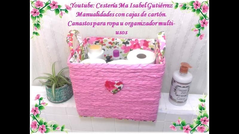 Manualidades con cajas de cartón Canasto para ropa u organizador multi usos