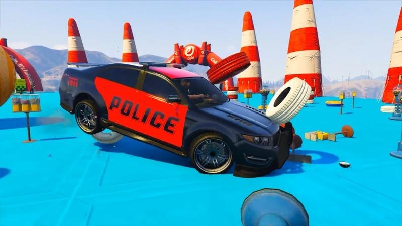 Мультики про Цветные Машинки для Детей Полиция Скорая помощь Грузовик Прыжки на Трамплине Гонки HD