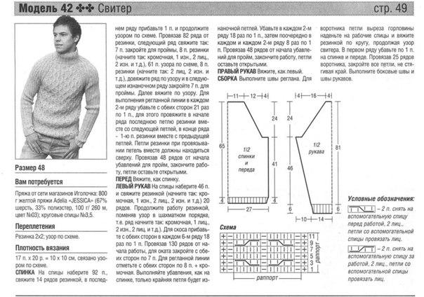Схемы мужских свитеров для вязания