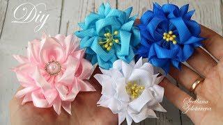 Пушистые цветы из лент 🌸 Канзаши 🌸 DIY 🌸 Ribbon flowers 🌸 Svetlana Zolotareva