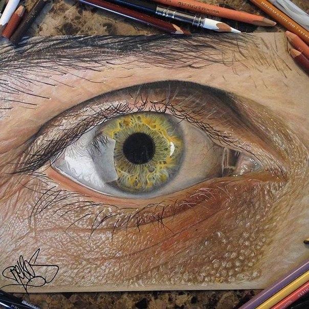 Невероятно реалистичные рисунки глаз Хосе Вергара, 19 -летний художник из Техаса, достиг, казалось бы невозможного. Ему удаётся рисовать реалистичные и детализированные картины человеческого глаза, крупным планом, чего можно было бы ожидать только от опытных мастеров. Для создания рисунков, Вергара использует только цветные карандаши, что делает его работы ещё более впечатляющими. Он просто талантливый самородок, и это всего в 19 лет! Умение передать на холсте человеческий глаз, считается…