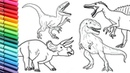 Drawing and Coloring Dinosaur Collection 2 - How to Draw and Color Jurassic World Dinosaurs